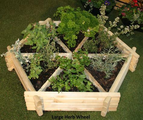 wooden herb wheel planter