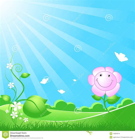 Beautiful Spring Nature Background With Sunbeam Royalty