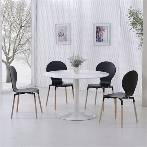 White Dining Table Black Chairs Snowdon Dining Table White Gloss Top And 4 Napoli Black