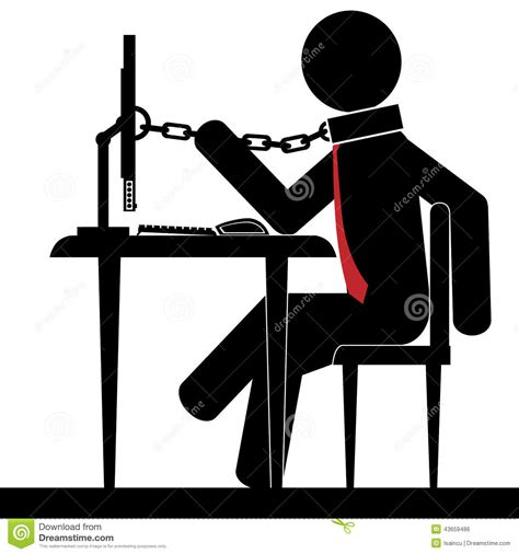 Chained To The Desk by Chained To Office Stock Vector Image 43659486