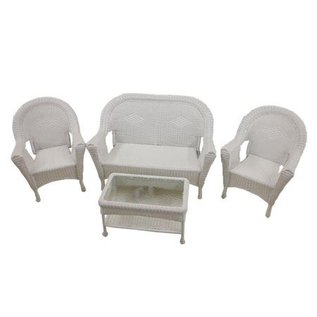 White Resin Patio Furniture by 4 White Resin Wicker Patio Furniture Set 2 Chairs