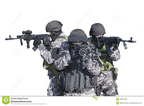 Swat White fight against terrorism special forces soldier with assault rifle swat stock image