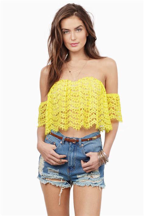 Talia Tops Spandek yellow crop top yellow top shoulder top 56 00