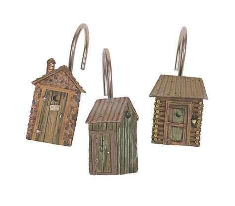 Lodge Outhouse Shower Curtain Hooks Picture