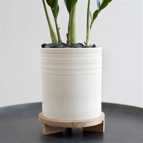 pots and planters striped planter tripod stand modern indoor pots and