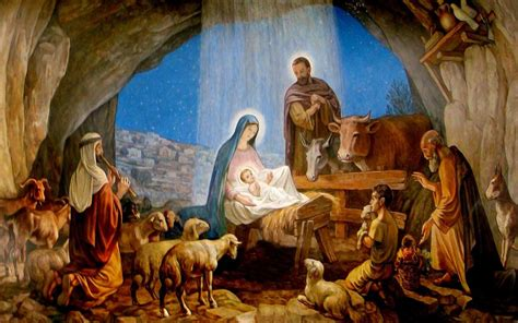 free christmas wallpapers of jesus in a manger nativity pictures