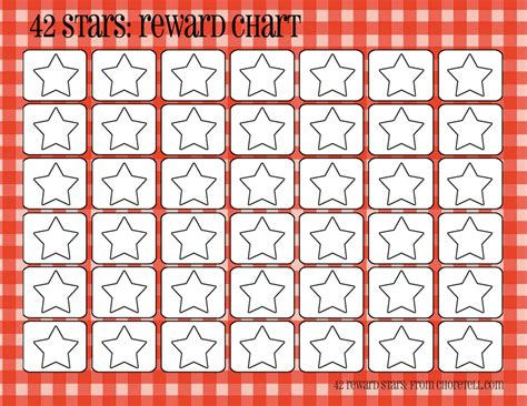 printable star reward chart plaid reward charts 42 stars free printable downloads