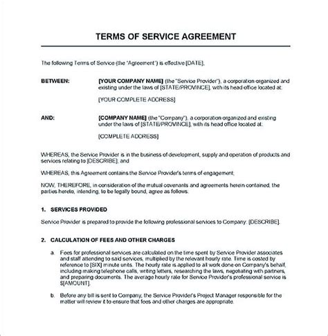 written agreement template service contract template and important terms to write