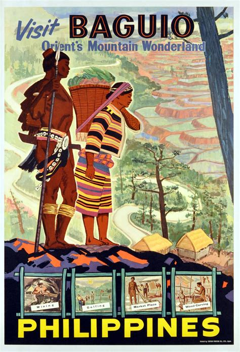 a manalad original vintage poster visit baguio philippines orient s mountain