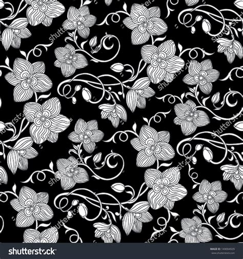 flower design floor tiles vintage floral background black white seamless stock