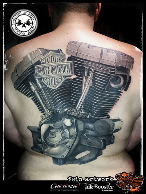 motor harley davidson cycles engine tattoo tattoos by