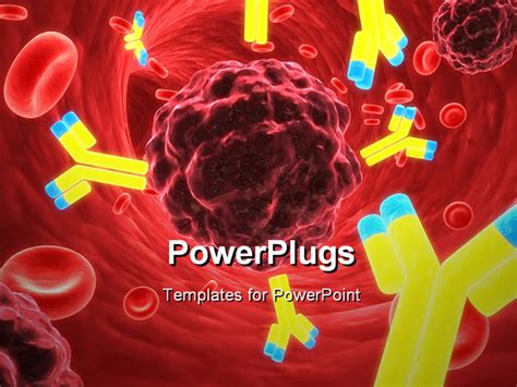 cancer powerpoint templates free 3d rendered up of antibodies and cancer cells