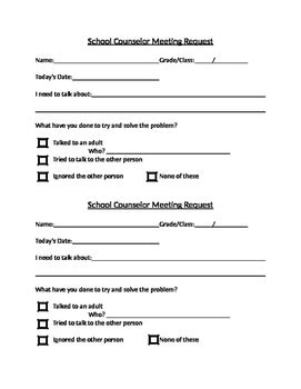 Student Self Referral Form For School Counseling Tpt Student Referral Form Template