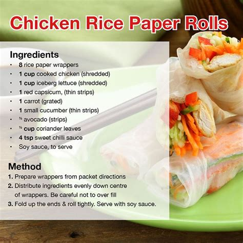How To Make Rice Paper Rolls - chicken rice paper rolls heathly