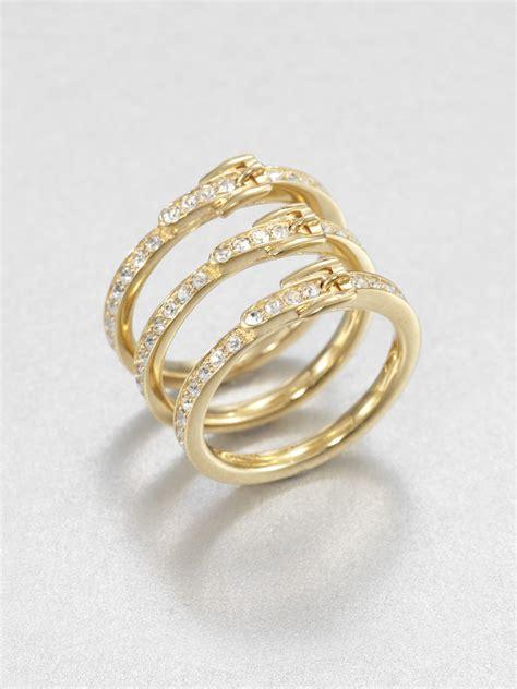 michael kors pav 233 buckle stack ring in gold lyst