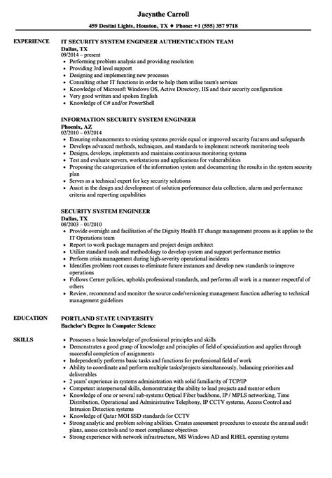 security system engineer resume sle security system engineer resume sles velvet