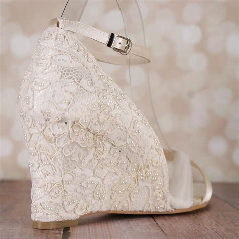 Ivory Wedge Wedding Shoes by Wedding Shoes Lace Wedding Wedges Ivory Lace Wedges Ivory