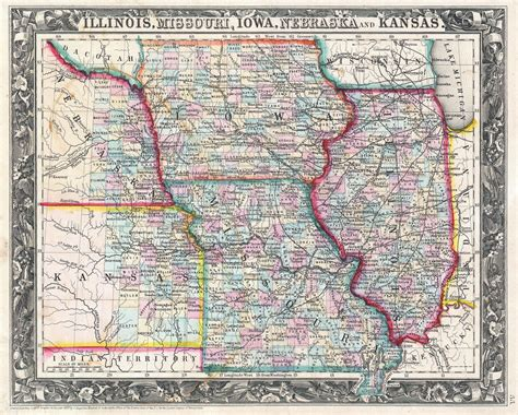 map missouri and illinois file 1860 mitchell map of iowa missouri illinois