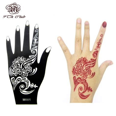 aliexpress com buy 1pcs henna hand tattoo stencil flower