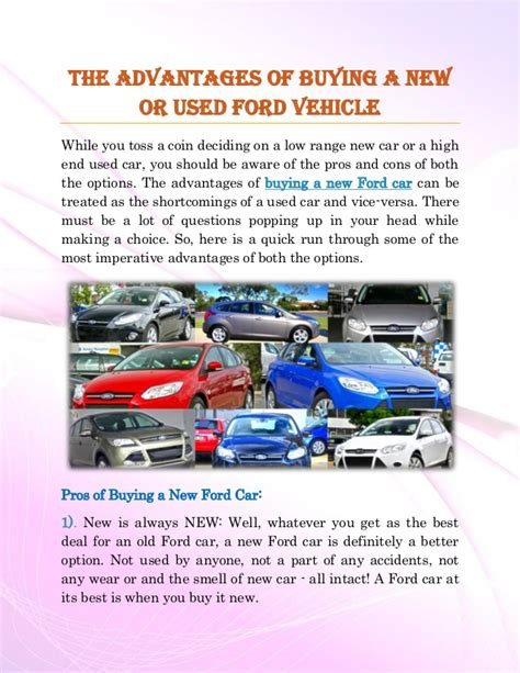 benefits  purchasing     ford car