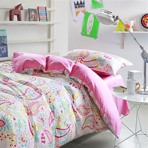 bright bedding sets bright pink and white paisley cotton bedding set