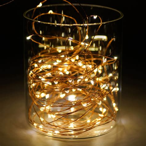 copper wire led lights 3m 10ft 30 leds aa battery operated string copper wire led