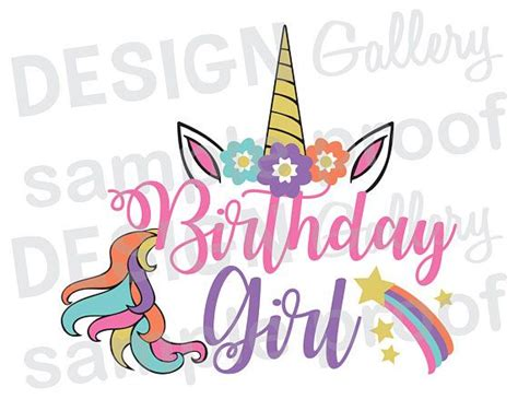 imagenes que digan happy birthday daddy birthday girl unicorn jpg png svg dxf cut file