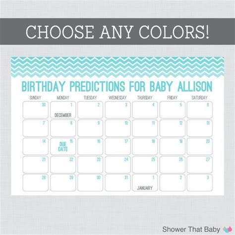 calendar template for baby shower baby birthday predictions printable chevron baby shower