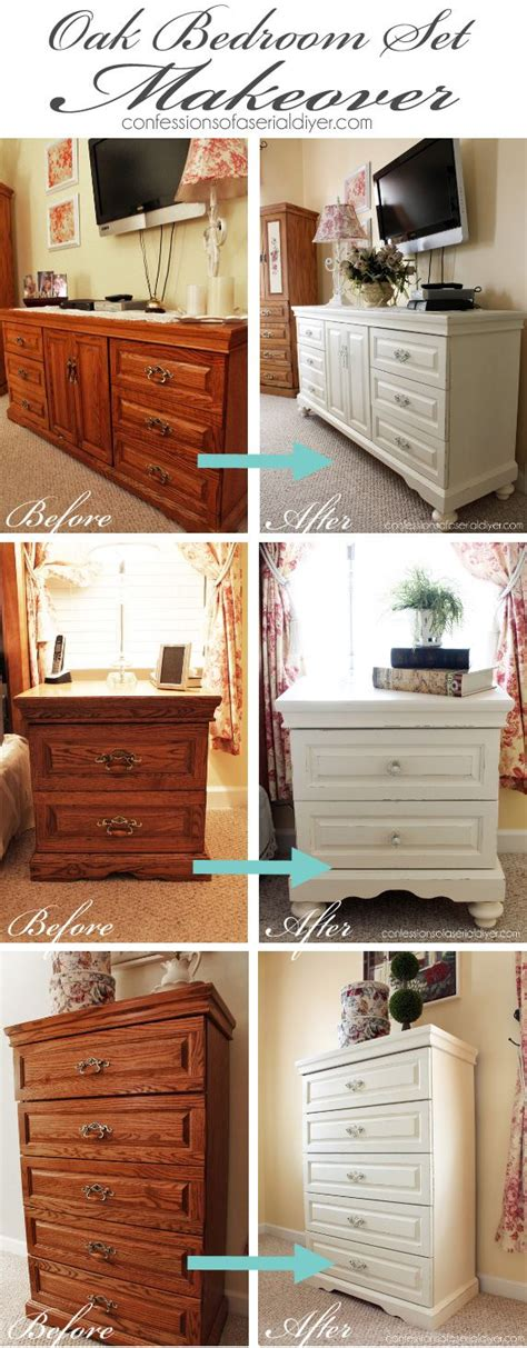 Painted Bedroom Furniture Sets Oak Bedroom Set Painted In Diy Chalk Paint The Difference Adding Makes Home