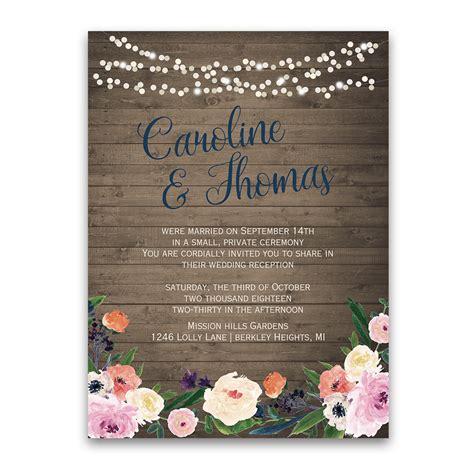 wedding reception invite sles watercolor floral bohemian wedding reception only invite