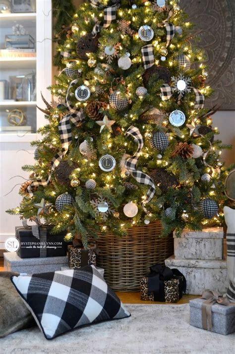 black  white plaid buffalo check christmas tree christmas decorations magical christmas