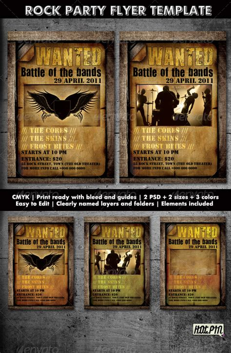 rock party concert flyer template 2 graphicriver