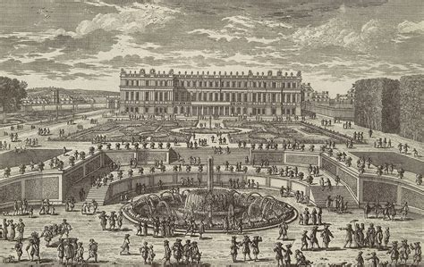 Drawing Floor Plan file etching of the palace of versailles in circa 1680 by