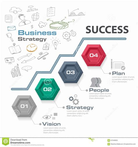 system design a strategic guide for a successful books four step business strategy for success vector graphic
