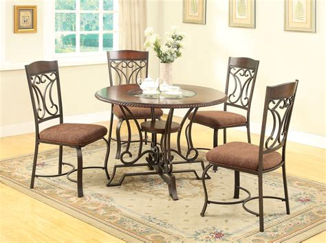 Oak And Glass Dining Table Sets Jairus 5 Pc 44 Quot Oak Dining Table Set W Glass Inlay Antique Black Finish
