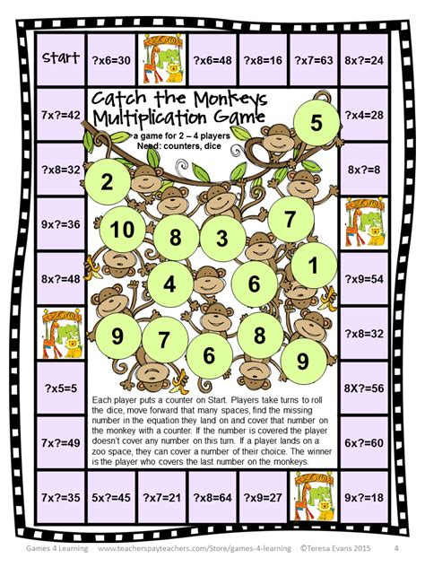 multiplication and division printable board games fun games 4 learning freebies