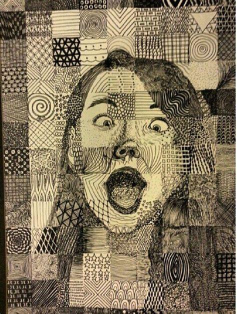 pattern portrait artist self portrait with gridded patterns sharpie my artwork