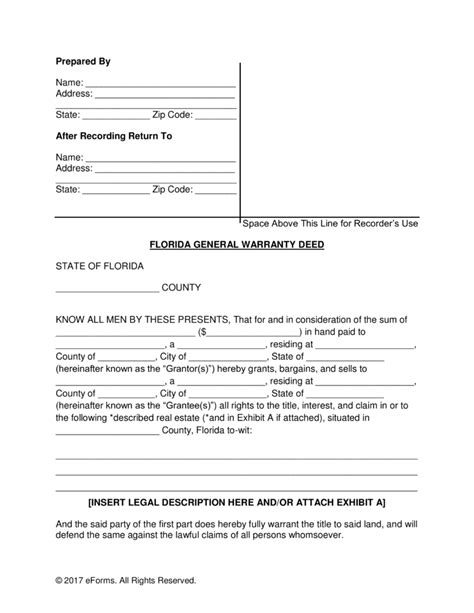 florida quit claim deed form template free florida general warranty deed form pdf word