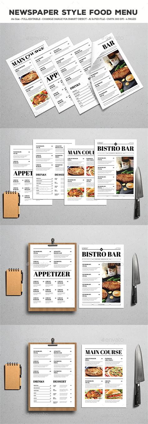 layout menu in pagemaker newspaper style food menus by guper graphicriver