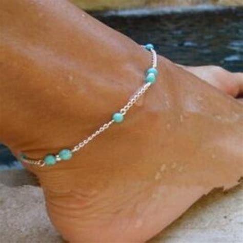 1pcs Anklet Foot Chain Bracelet Handmade Turquoise Bead Anklet 1pcs unique turquoise silver chain anklet
