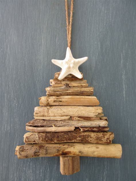 driftwood christmas tree ornament small by beachwooddreams