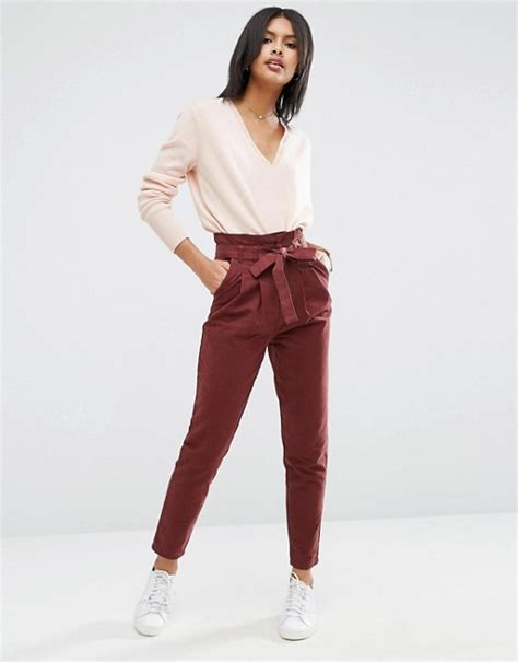 Land Nanette Lepores Wearable High Waist Trousers by Asos Asos High Waist Paperbag Leg Trousers