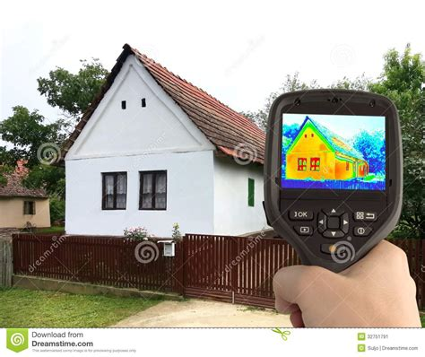the camera house thermal image of the old house stock image image 32751791