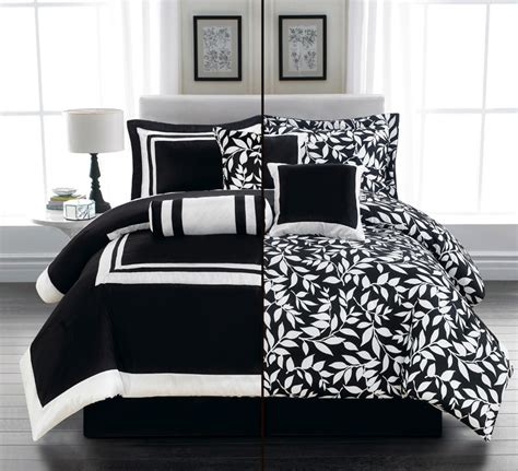 Black Reversible Comforter by New 7pc Bedding Black White 2 In 1 Reversible