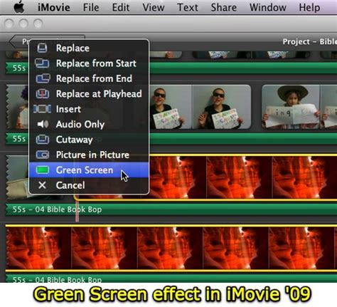 tutorial on imovie 09 green screen effects