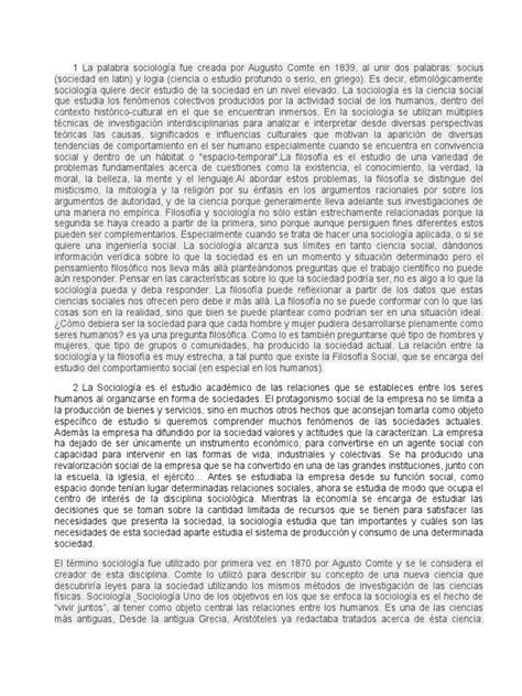 1 La Palabra Sociología Fue Creada Por Augusto Comte en 1839