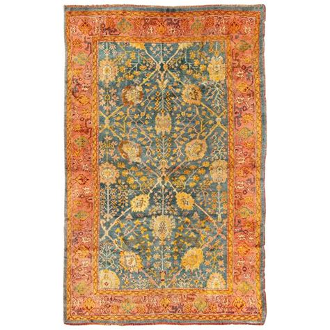 blue oushak rug antique turkish oushak rug with blue and salmon colors for sale at 1stdibs