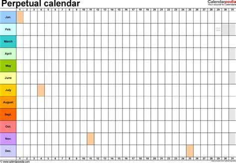 perpetual calendar template download free premium