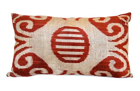 uzbek silk ikat lumbar pillow one kings lane lya ikat 16x24 pillow yellow orientalist home brands