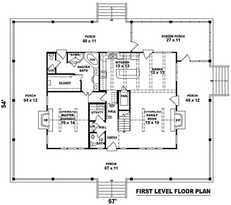 farmhouse floor plans with wrap around porch complete wrap around porch 58296sv 1st floor master
